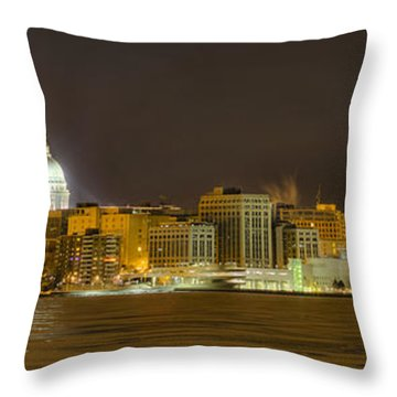 Madison - Wisconsin City  Panorama - No Fireworks Throw Pillow