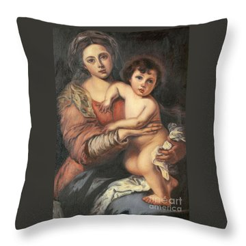 Throw Pillow featuring the painting Madona And Child by Mukta Gupta