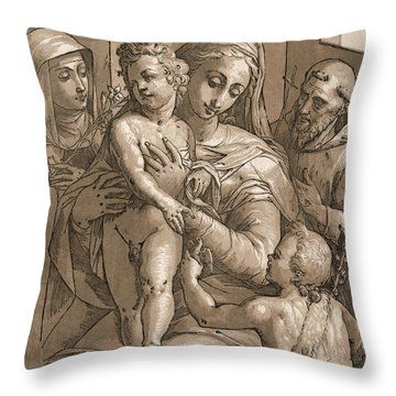 Madonna And Child Throw Pillow by Aged Pixel