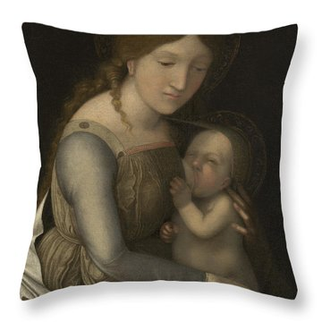 Madonna And Child Throw Pillow by Andrea Mantegna