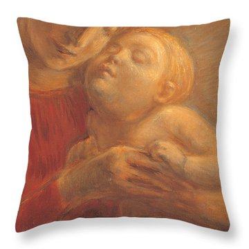 Madonna And Child Throw Pillow by Gaetano Previati