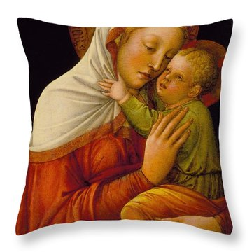 Madonna And Child Throw Pillow by Jacob Bellini