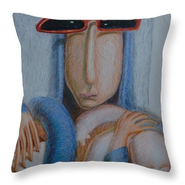 Madonna In Sunglasses Throw Pillow by Nancy Mauerman