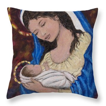 Madonna Of The Burgundy Tapestry - Cropped Throw Pillow by Kathleen McDermott