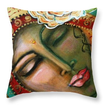 Madonna Of The First Breath Throw Pillow by Maya Telford