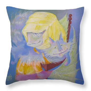 Throw Pillow featuring the painting Madonna With A Cat by Marina Gnetetsky