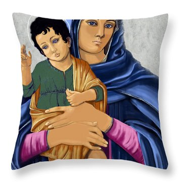 Throw Pillow featuring the painting Madonna With Child Blessing by Karon Melillo DeVega