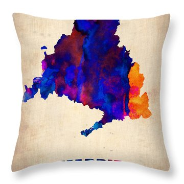 Madrid Watercolor Map Throw Pillow by Naxart Studio