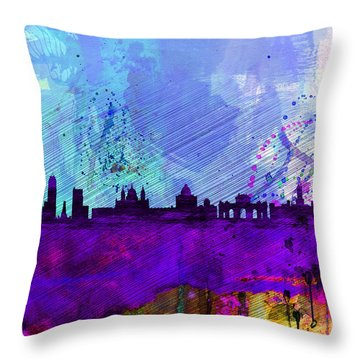 Madrid Watercolor Skyline Throw Pillow