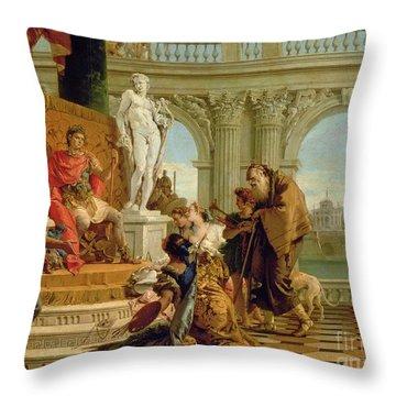 Maecenas Presenting The Liberal Arts To The Emperor Augustus Throw Pillow by Giovanni Battista Tiepolo