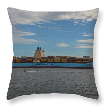 Ocean Going Freighter Throw Pillow