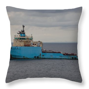 Maersk Transporter Throw Pillow by Gregory Daley  PPSA