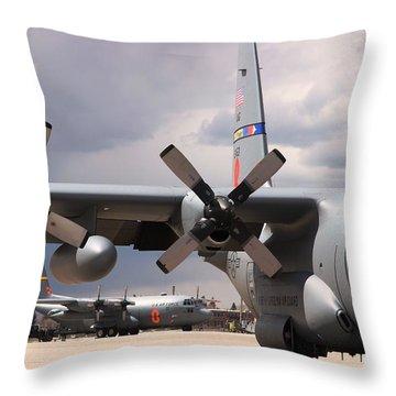 Throw Pillow featuring the photograph Maffs C-130s At Cheyenne by Bill Gabbert