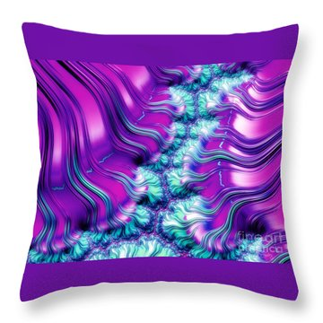 Magenta And Aqua Soft Fractal Abstract Throw Pillow