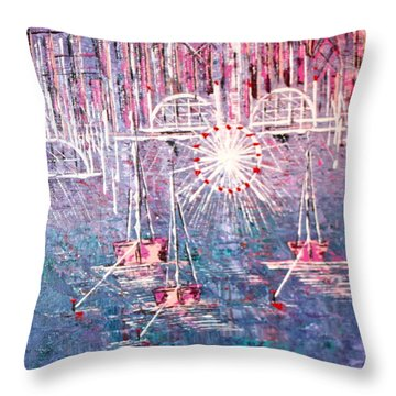 Belmont Turn Magenta Chicago Throw Pillow by George Riney