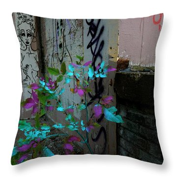 Magenta Cyan And Babs Throw Pillow by Jacqueline Athmann