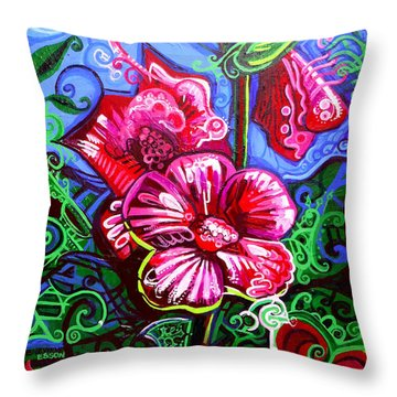 Magenta Fleur Symphonic Zoo I Throw Pillow by Genevieve Esson