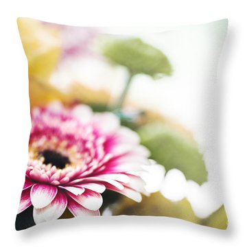 Magenta Splash Throw Pillow by Trevor Chriss