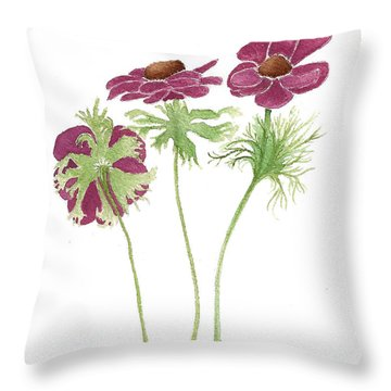 Throw Pillow featuring the painting Magenta Wind Flowers by Nan Wright