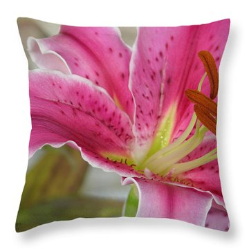 Magenta Tiger Lily Throw Pillow