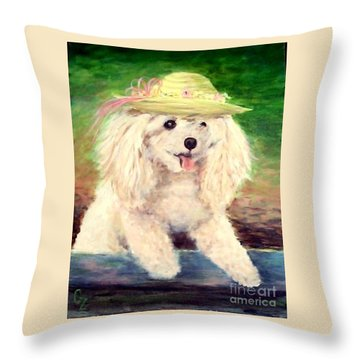 Maggie   Straw Hat Throw Pillow