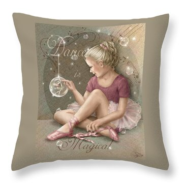 Magic Ballerina Throw Pillow by Beverly Levi-Parker