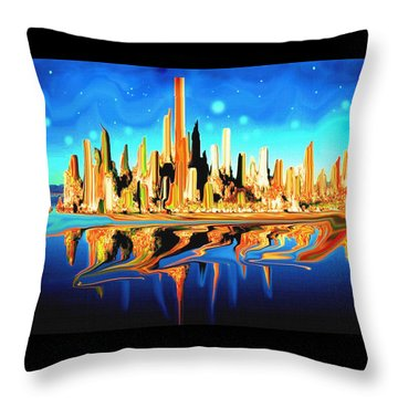 New York Skyline In Blue Orange - Abstract Art Throw Pillow by Art America Gallery Peter Potter