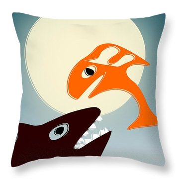 Magic Fish Throw Pillow by Anastasiya Malakhova