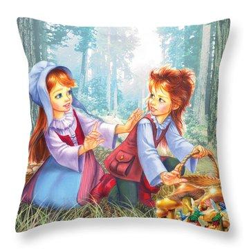 Magic Forest Mushrooms Throw Pillow by Zorina Baldescu