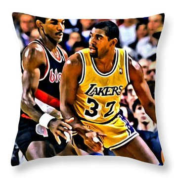Magic Johnson Vs Clyde Drexler Throw Pillow