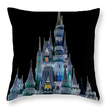 Magic Kingdom Castle Frozen Blue Frost For Christmas Throw Pillow