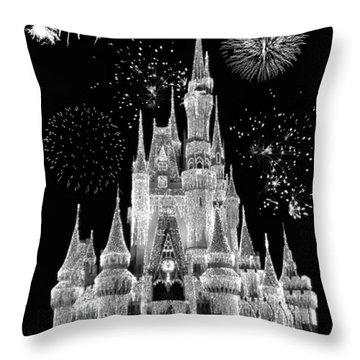 Magic Kingdom Castle In Black And White With Fireworks Walt Disney World Throw Pillow