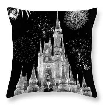 Magic Kingdom Castle In Black And White With Fireworks Walt Disney World Throw Pillow by Thomas Woolworth