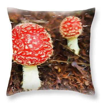 Magic Mushrooms Throw Pillow by Ayse and Deniz