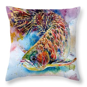 Magic Of Arowana Throw Pillow by Zaira Dzhaubaeva