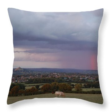 Magic Of Glastonbury Tor Throw Pillow