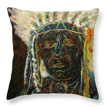 Magic Powers,  Native American Indian Chief Throw Pillow