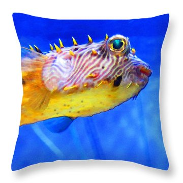 Magic Puffer - Fish Art By Sharon Cummings Throw Pillow by Sharon Cummings