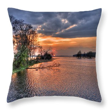 Magic Sunset Over Zegrze Lake Near Warsaw In Poland Throw Pillow
