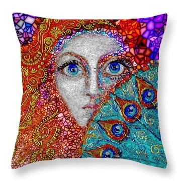 Throw Pillow featuring the painting The Peacock Fan by Agata Lindquist