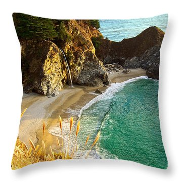 Magical Falls Of Mcway Waterfall At Julia Pfeiffer Burns State Park Throw Pillow by Jamie Pham