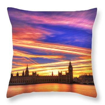 Magical London Throw Pillow by Midori Chan