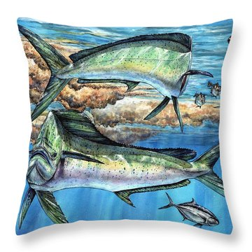 Magical Mahi Mahi Sargassum Throw Pillow