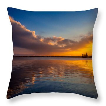 Throw Pillow featuring the photograph Magical Reflections Of Sundown by Julis Simo