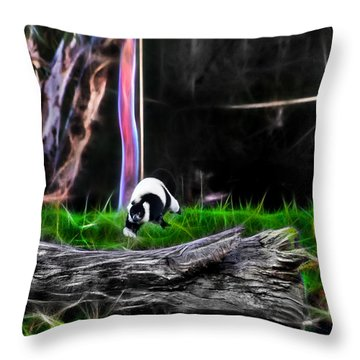 Walk In Magical Land Of The Black And White Ruffed Lemur Throw Pillow