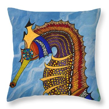 Magical Seahorse Throw Pillow by Suzette Kallen