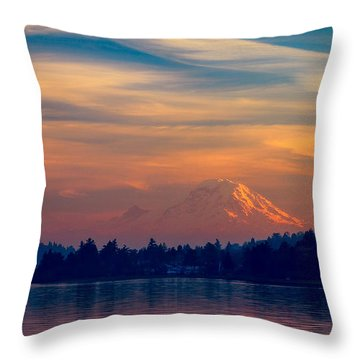 Throw Pillow featuring the photograph Magical Sunset At The Lake by Ken Stanback