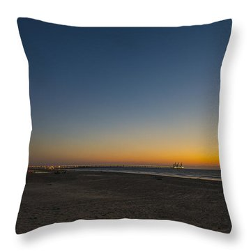 Throw Pillow featuring the photograph magical sunset moments at Caesarea  by Ron Shoshani