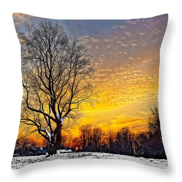 Magical Winter Sunset Throw Pillow