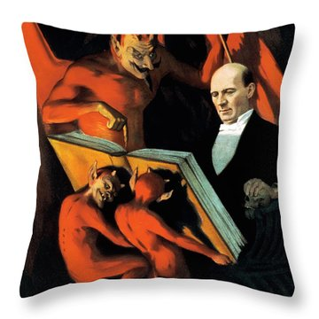 Magician Harry Kellar And Demons  Throw Pillow